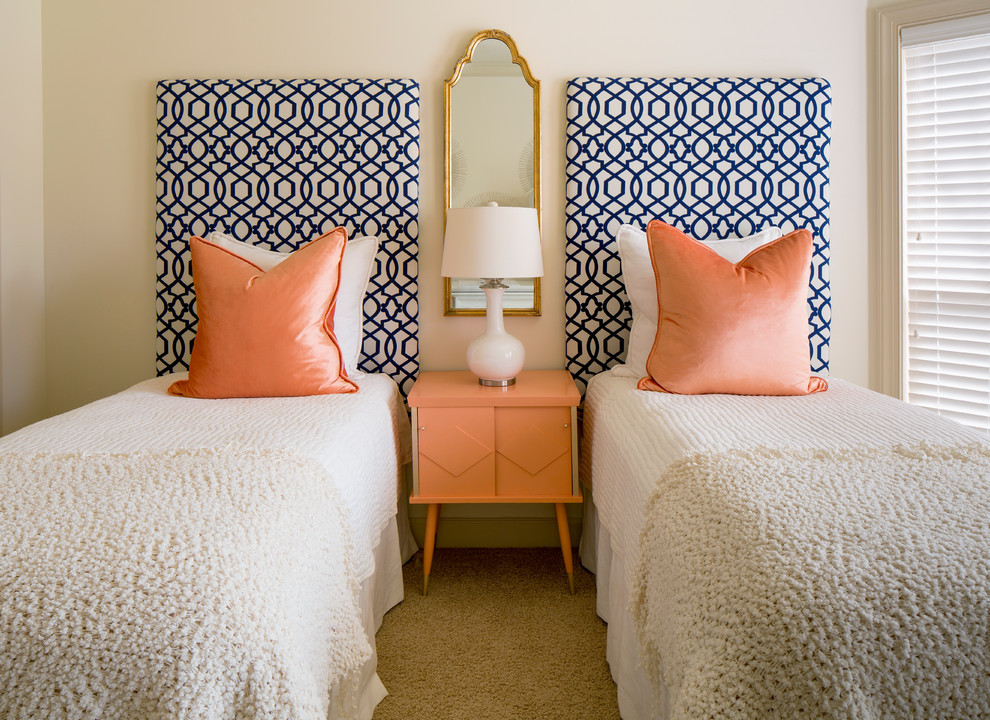 European Sham Bedroom Transitional with Blue Gold Mirror Orange Patterned Headboard White Lamp
