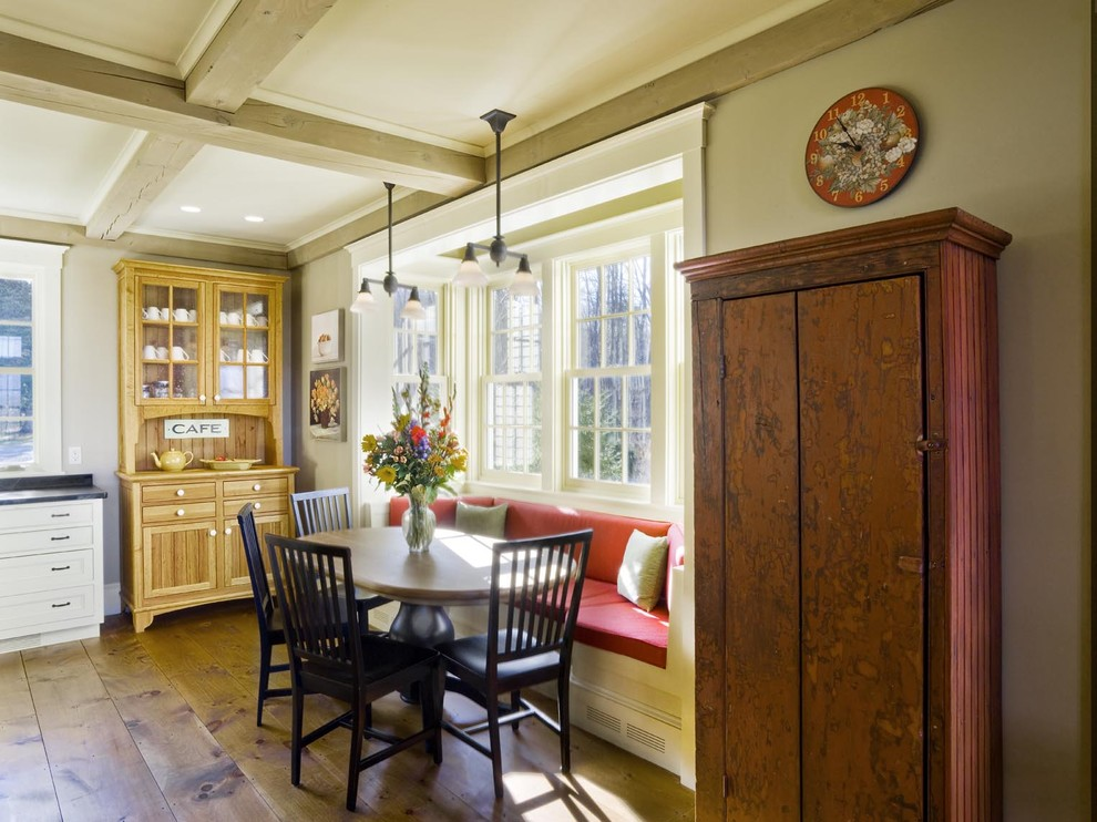 Eurotech Seating Kitchen Farmhouse with Banquette Breakfast Nook Coffered Ceiling Dining Hutch Exposed Beams Floral Arrangement Kitchen