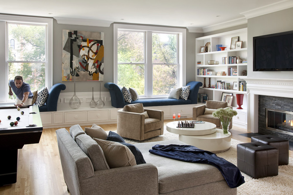 Eurotech Seating Living Room Contemporary with Area Rug Blue and Brown Bookcase Bookshelves Built in Shelves Built In