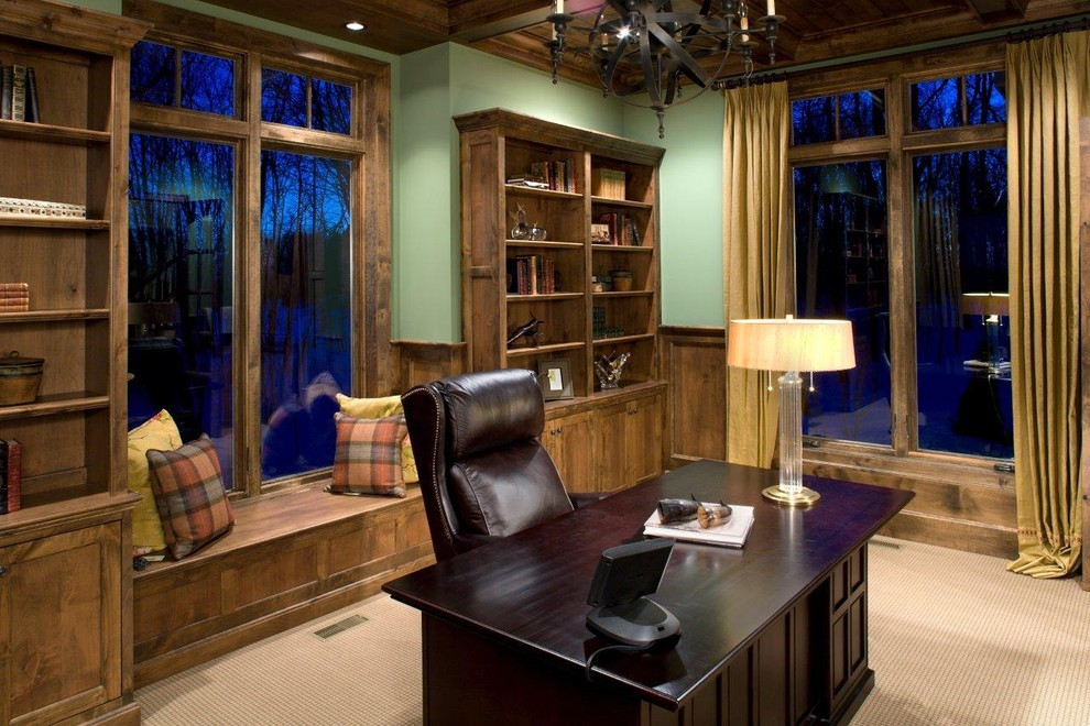 Executive Desks Home Office Traditional with Bookcase Bookshelves Built in Seating Built in Storage Curtains Drapes Executive Desk