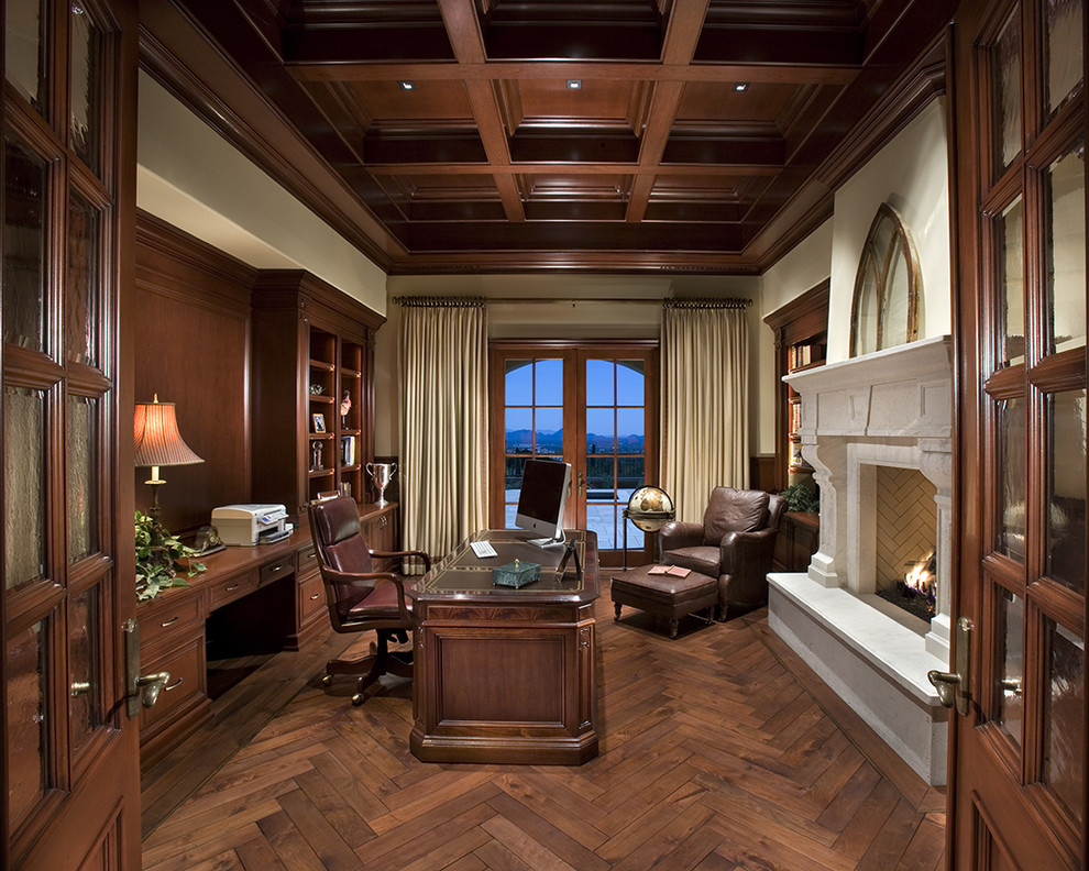 Executive Desks Home Office Traditional with Ceiling Lighting Coffered Curtains Dark Floor Drapes Executive Desk Fireplace Surround French