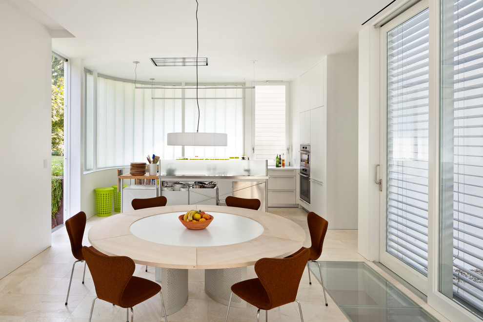 Expandable Dining Table Dining Room Contemporary with Exterior Blinds Glass Floor Pendant Light Round Dining Table Sliding Glass Door