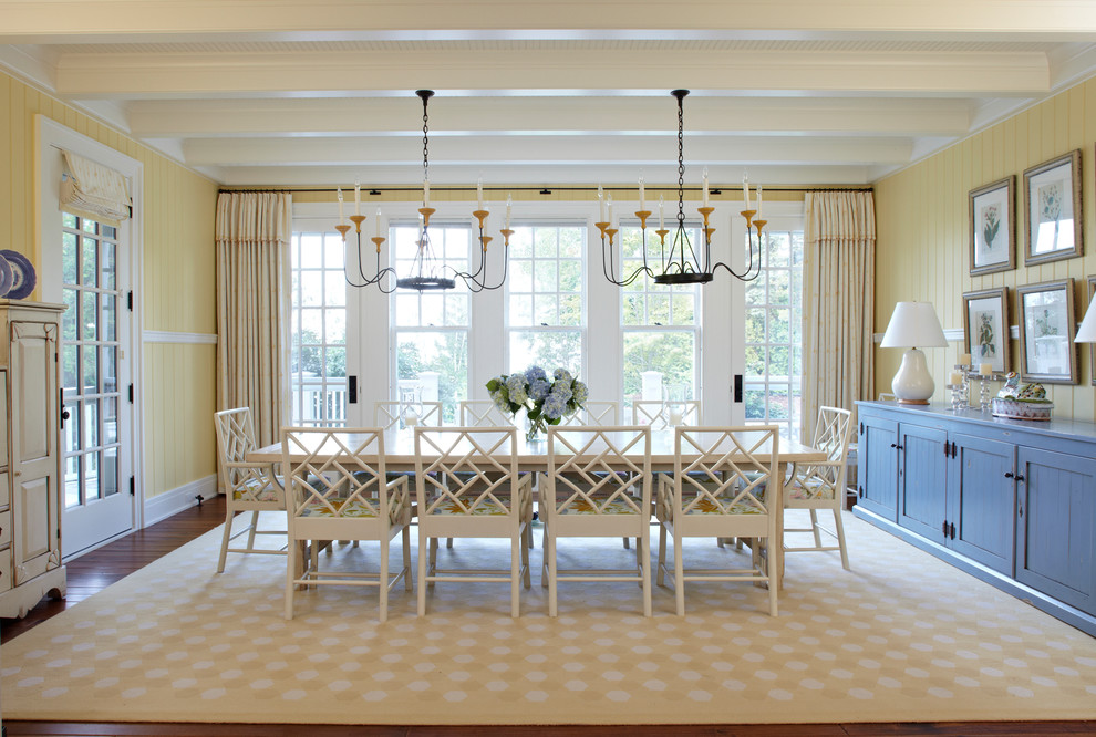Extendable Dining Table Dining Room Beach with Beige Curtain Beige Rug Blue Cabinets Chandelier Glass Door Oversized Dining Table