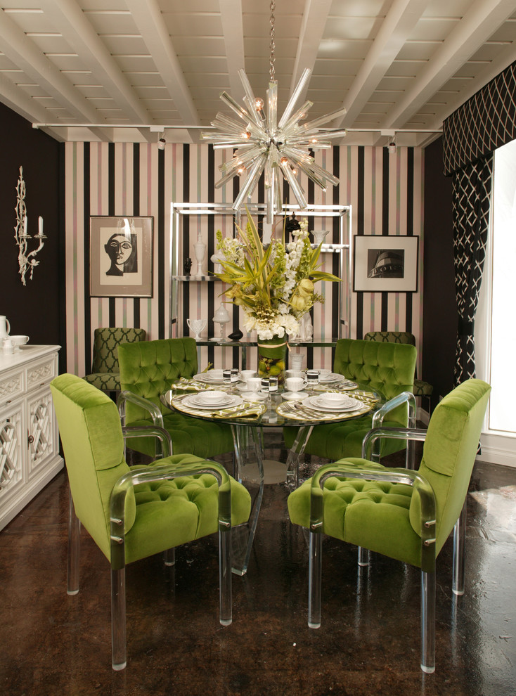 Extendable Dining Table Dining Room Contemporary with Black Chandelier Green Lucite Stripes Tufted White