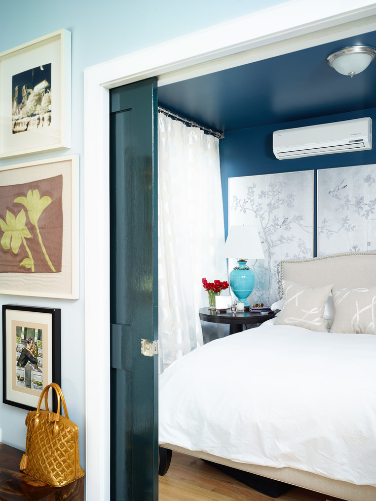 extra deep pocket sheets Bedroom Eclectic with AC asian wall panels beige headboard beige throw pillows blue walls ceiling