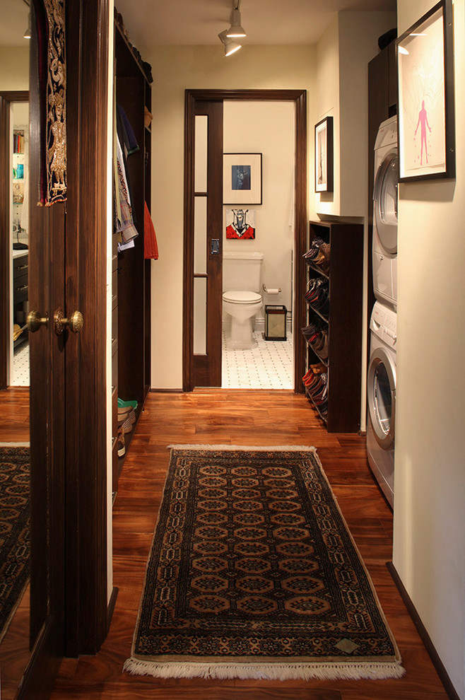 Extra Deep Pocket Sheets Laundry Room Eclectic with Dark Wood Floor Dark Wood Trim Fringed Runner Hall Hall Bath Laundry