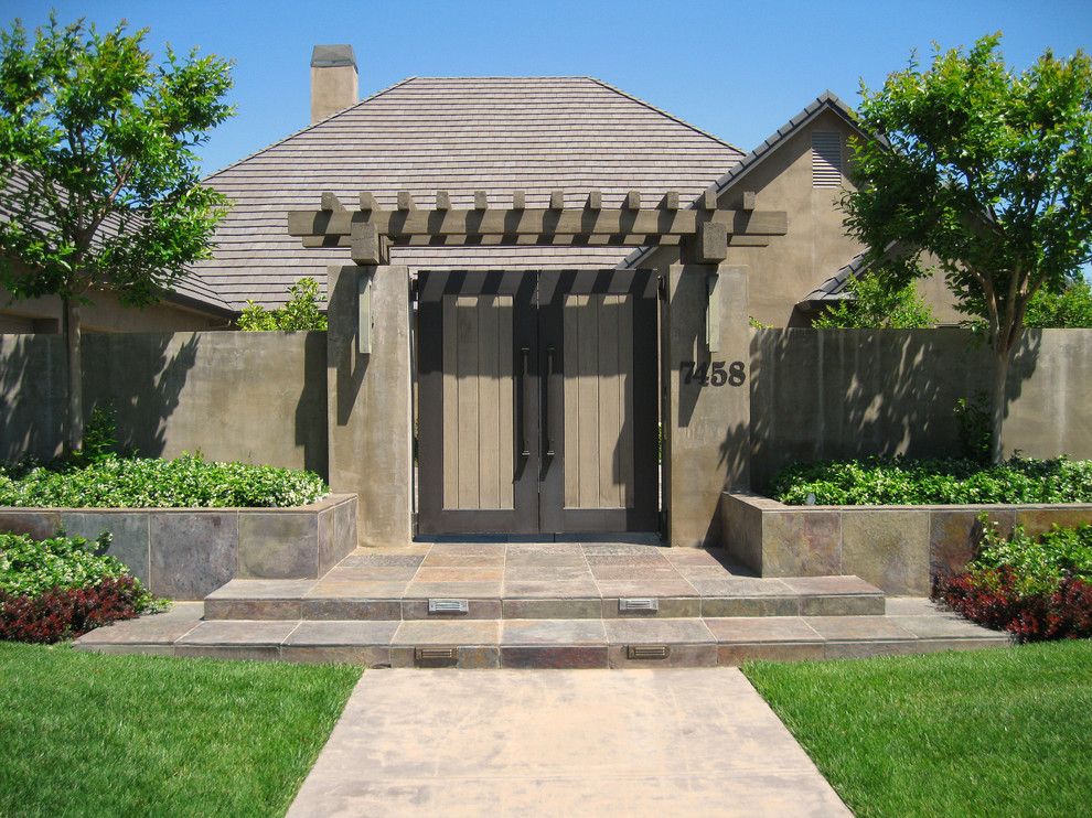 Extra Wide Baby Gates Landscape Contemporary with Arbor Brown Exterior Brown Siding Concrete Wall Courtyard Walls Entry Gates Entry