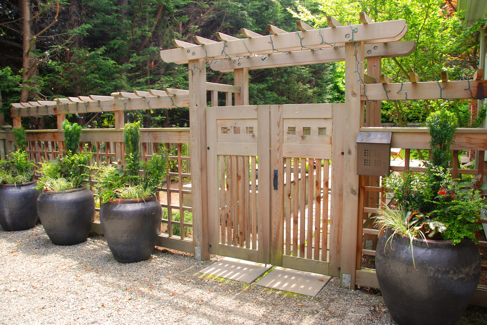 extra wide baby gates Landscape Contemporary with arbor climbing plants container plants entrance entry gravel lattice potted plants string
