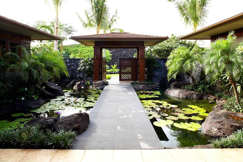 Extra Wide Baby Gates Landscape Tropical with Boulders Custom Home Building Hawaii Custom Home Hawaii Gina Willman Gm Construction