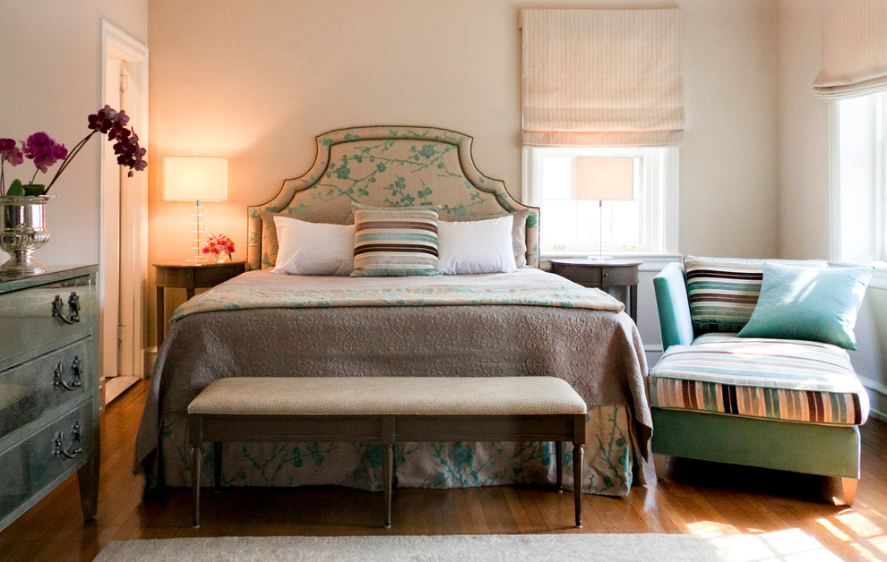 Fabric Headboard Bedroom Contemporary with Bed Skirt Bench Seat Chaise Demilune Dresser Lamps Night Stands Roman Shades