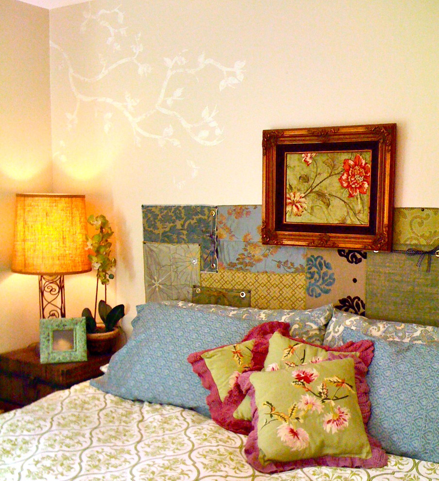 fabric headboard Bedroom Eclectic with appliques bed bedside table blue bohemian branches color decorative pillows DIY fabric