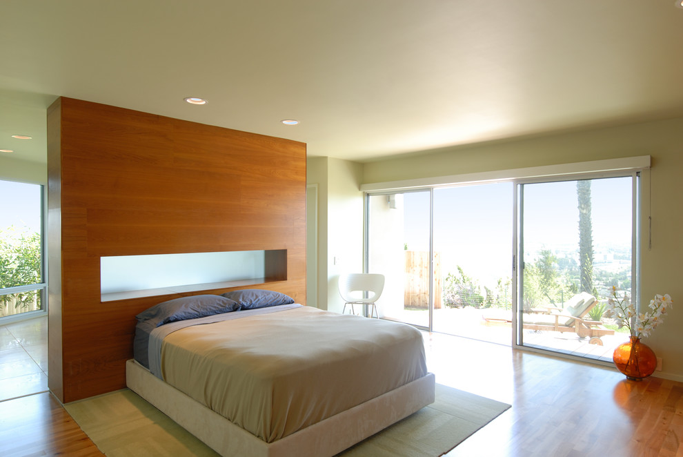 Fabric Headboard Bedroom Modern with Frosted Glass Platform Bed Recess Lights Room Divider Slider View Wood Floor