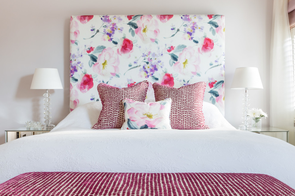 Fabric Headboard Bedroom Victorian with Bedding Cushions Fabric Floral Fabric Floral Headboard Flower Pattern Headboard Springtime Upholstered