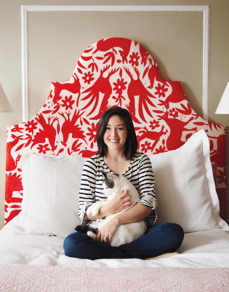 Fabric Headboard Spaces Eclectic with None