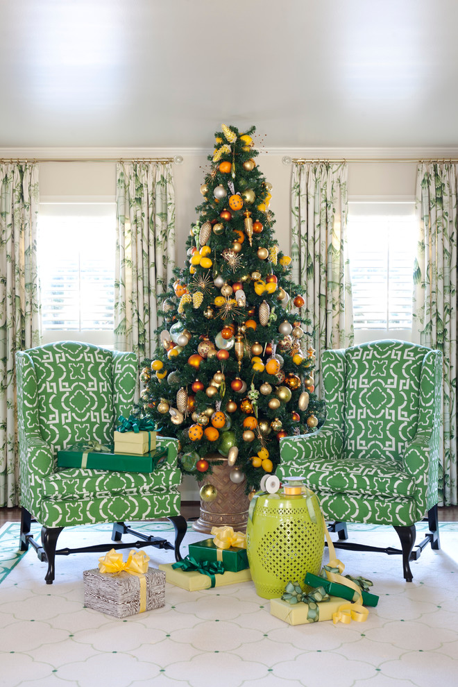 Fake Christmas Trees for Sale Living Room Traditional with Armchair Christmas Tree Color Curtain Decoration Eclectic Green Green Side Table Holiday