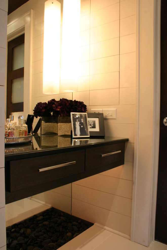 Fake Flower Arrangements Bathroom Contemporary with Bathroom Lighting Bathroom Nook Black and White Black Cabinets Black Door Contemporary