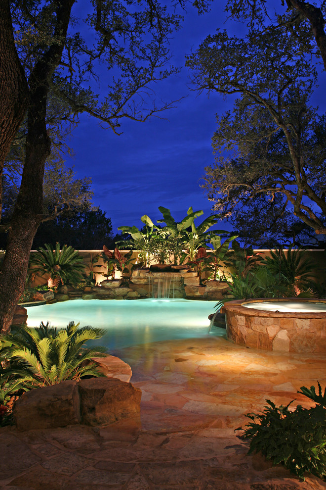 Fake Palm Trees Pool Tropical with Backyard Beach Entry Beach Entry Pool Bushes Hot Tub in Ground Pool