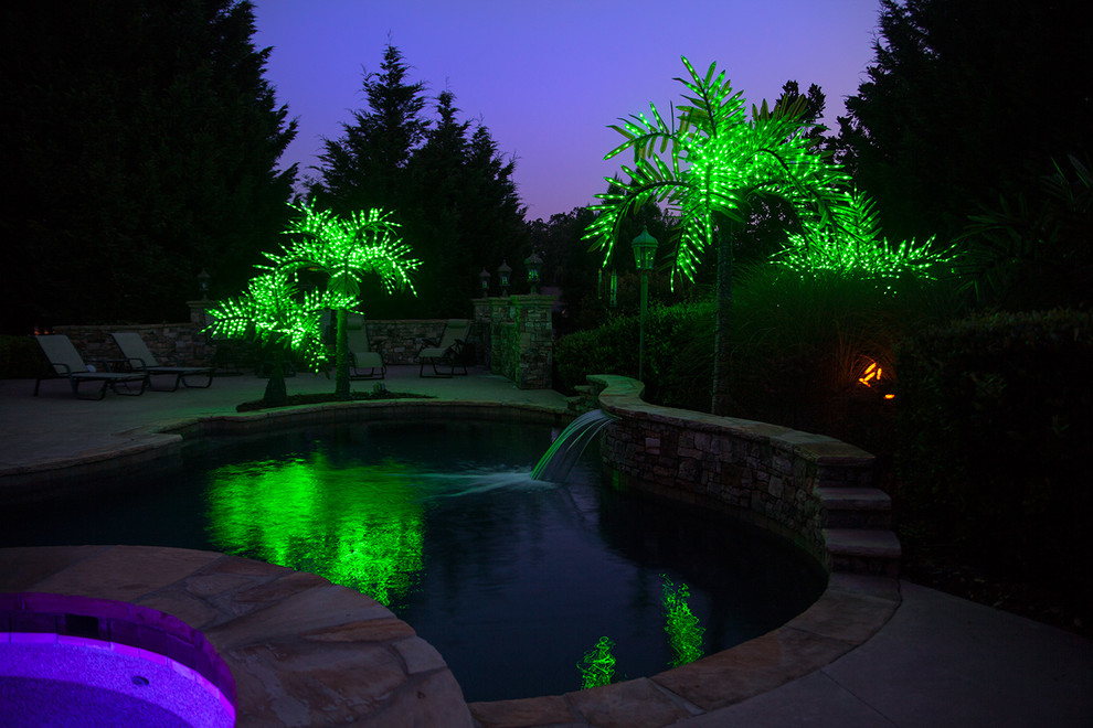 Fake Palm Trees Pool Tropical With Backyard Fake Palm Trees LED Lights LED Palm  Tree Lighted
