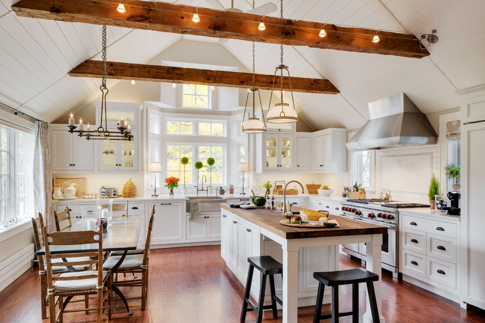 Farmhouse Kitchen Sink Kitchen Traditional with Butcher Block Countertop Butcher Block on Island Caesarstone Exposed Beams Stainless Steel