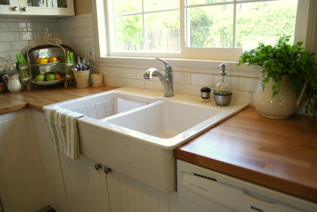 Farmhouse Sink Kitchen Traditional with Butcherblock Farm House Sink Farmhouse Sink Subway Tile
