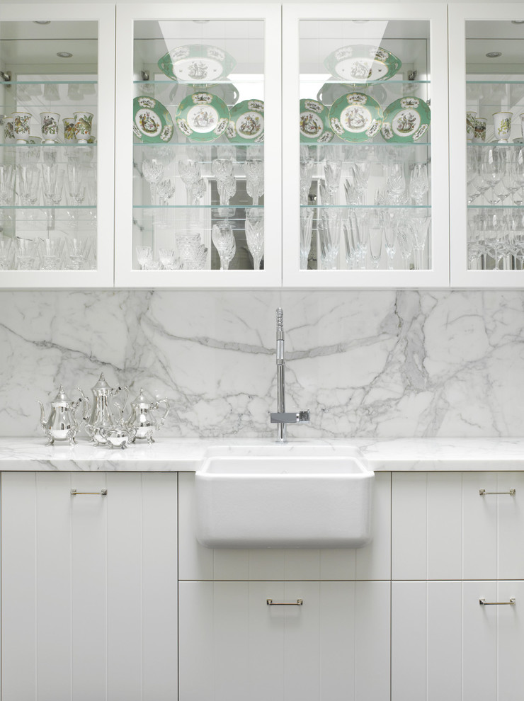 Farmhouse Sink Kitchen Traditional with Butlers Pantry Calacutta Glass Display Hamptons Style High End Integrated Appliances Luxury