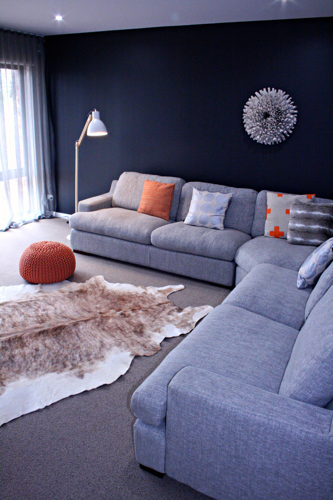 Faux Fur Pillow Family Room Contemporary with Cowhide Grey Sofa Living Room Sectional
