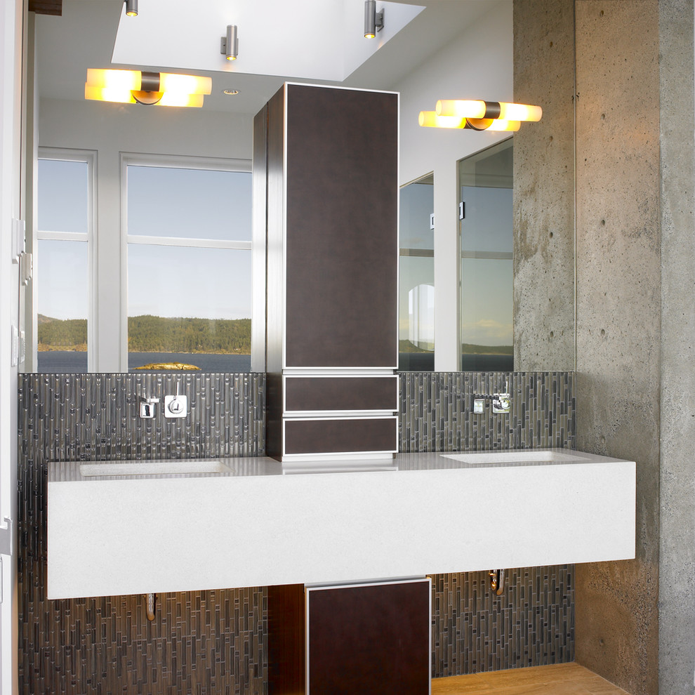 Faux Leather Couch Bathroom Contemporary with Bathroom Mirror Bathroom Tile Concrete Wall Double Sinks Double Vanity Exposed Plumbing