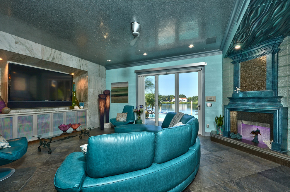 Faux Leather Sofa Living Room Mediterranean with Aqua Creation Lighting Aqua Glass Tile Blue Metallic Faux Painted Fireplace Home