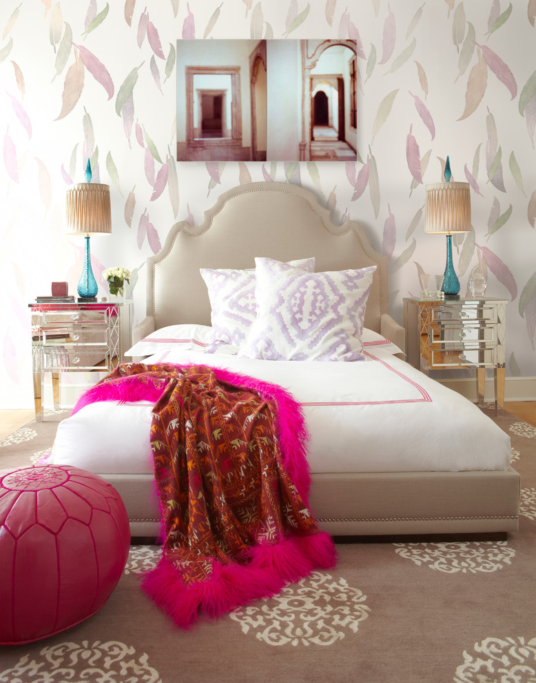 Feather Bed Topper Bedroom Contemporary with Artful Wallpaper Bedroom Art Bedroom Feathers Bedroom Wallpaper Bedroom Walls Bedside Lamps