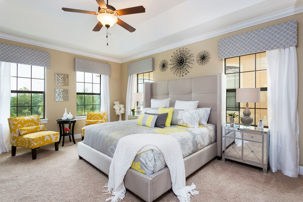 Feather Bed Topper Bedroom Contemporary with Beige Wall Ceiling Fan Crown Molding Floral Bedding Gray Bed Gray Headboard