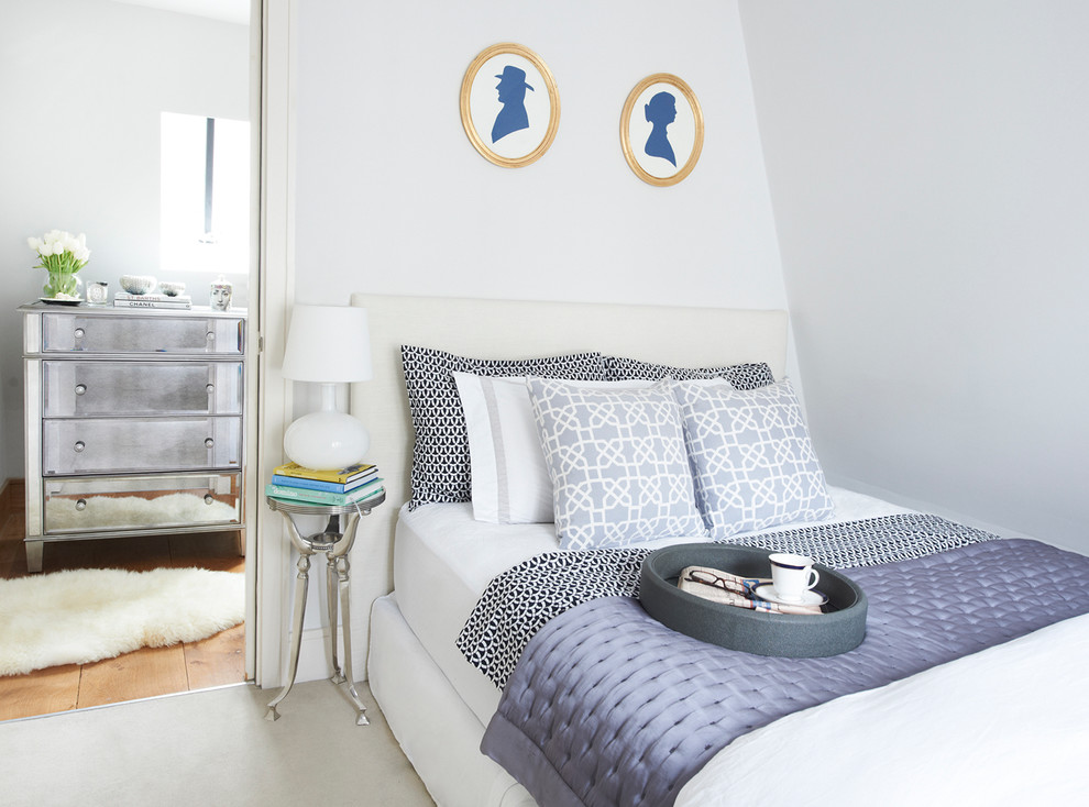 feather bed topper Bedroom Transitional with blue and white faux fur rug gilt frames mirrored furniture oval frames