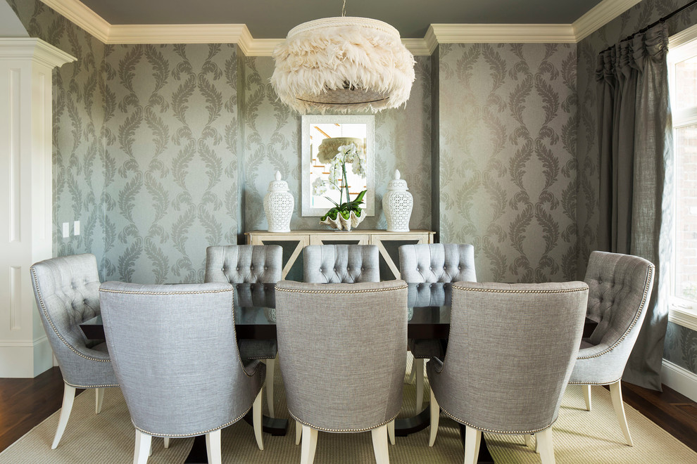 Feather Comforter Dining Room Transitional with Baseboard Buffet Column Console Cool Colors Crown Molding Curtain Dining Table Feather