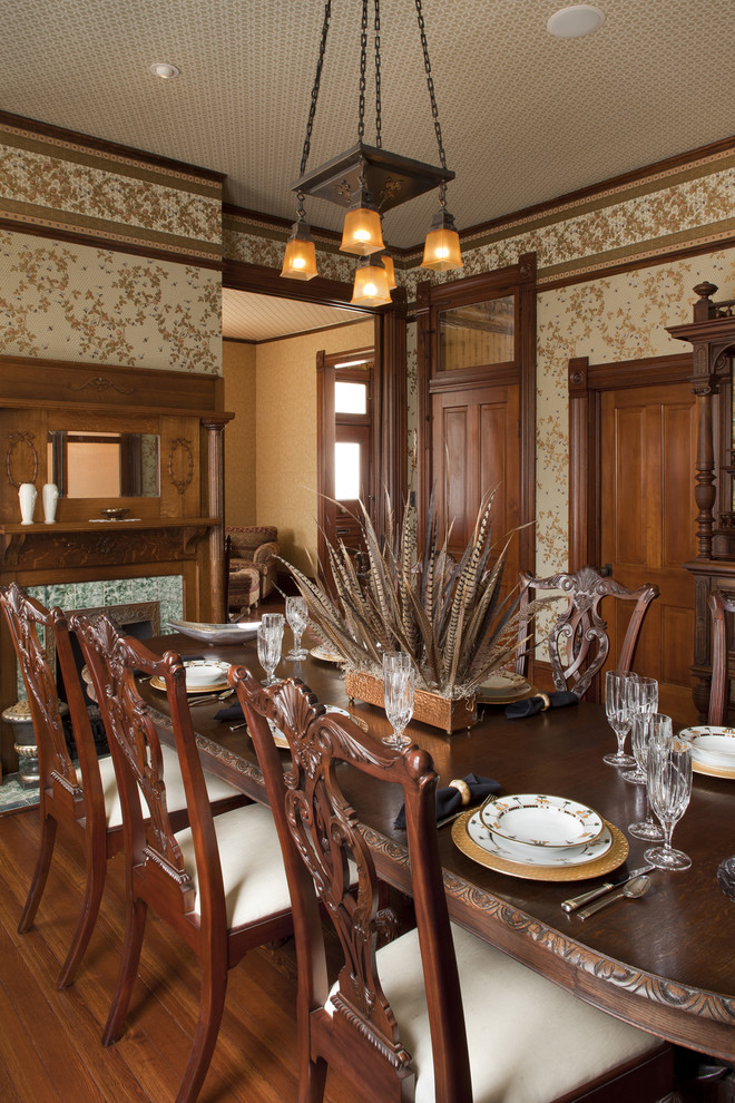 feather comforter Dining Room Victorian with antique ceiling chairs Dining feather centerpiece fire place fixture furnishing furniture historic