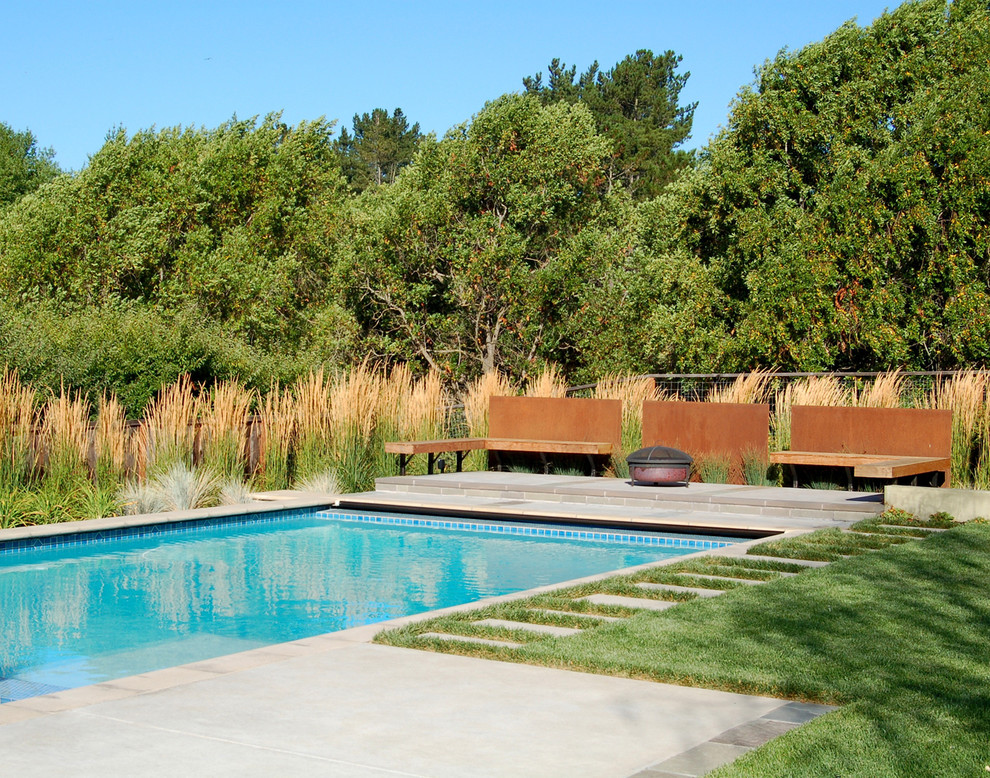 Feather Comforter Pool Industrial with Bench Concrete Fencing Fire Pit Geometric Geometry Grass Lawn Orange Paver Pool
