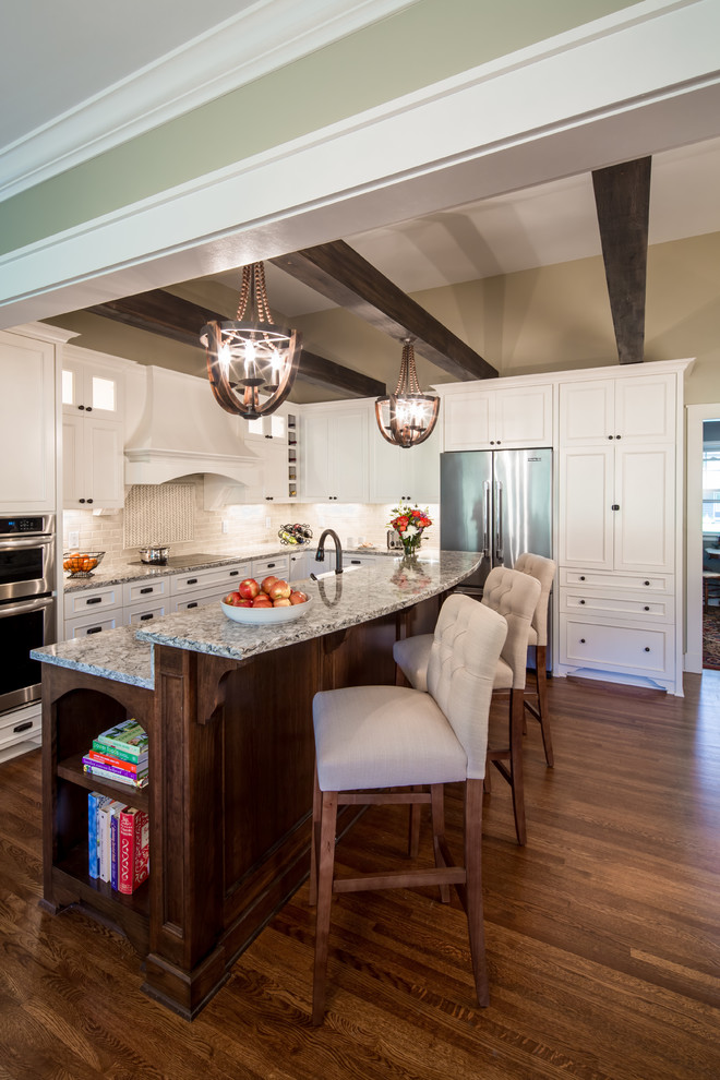 Feiss Lighting Kitchen Transitional with Beige Walls Custom Hood Dark Stained Wood Island Pendants Kitchen Island Pendant