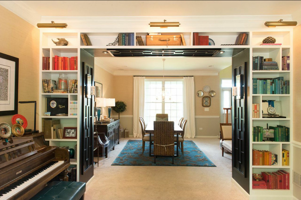 feizy rugs Dining Room Transitional with antique area rug Art banana chair black black curtain rod blue books
