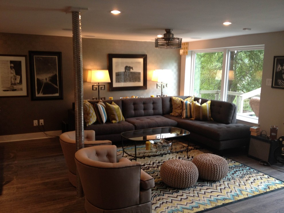 Feizy Rugs Home Theater Eclectic with Art Work Baseboards Fan Lamp Man Cave Natural Light Rug Sofa Sofa1