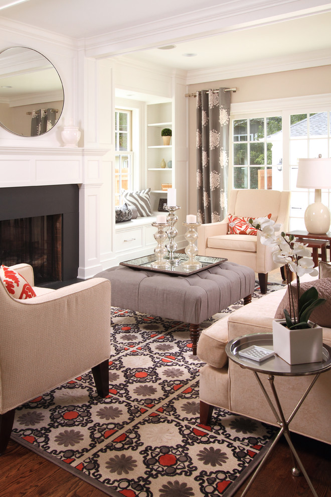 Feizy Rugs Living Room Contemporary with Area Rug Beige Armchair Curtains Drapes End Table Family Room Fireplace Fireplace