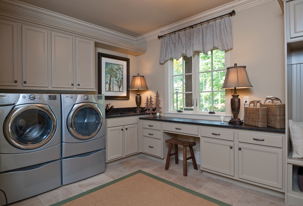Fiber Optic Christmas Tree Laundry Room Traditional with Basket Storage Baskets Beige Black Counter Built in Bench Seat Casement Windows Coat