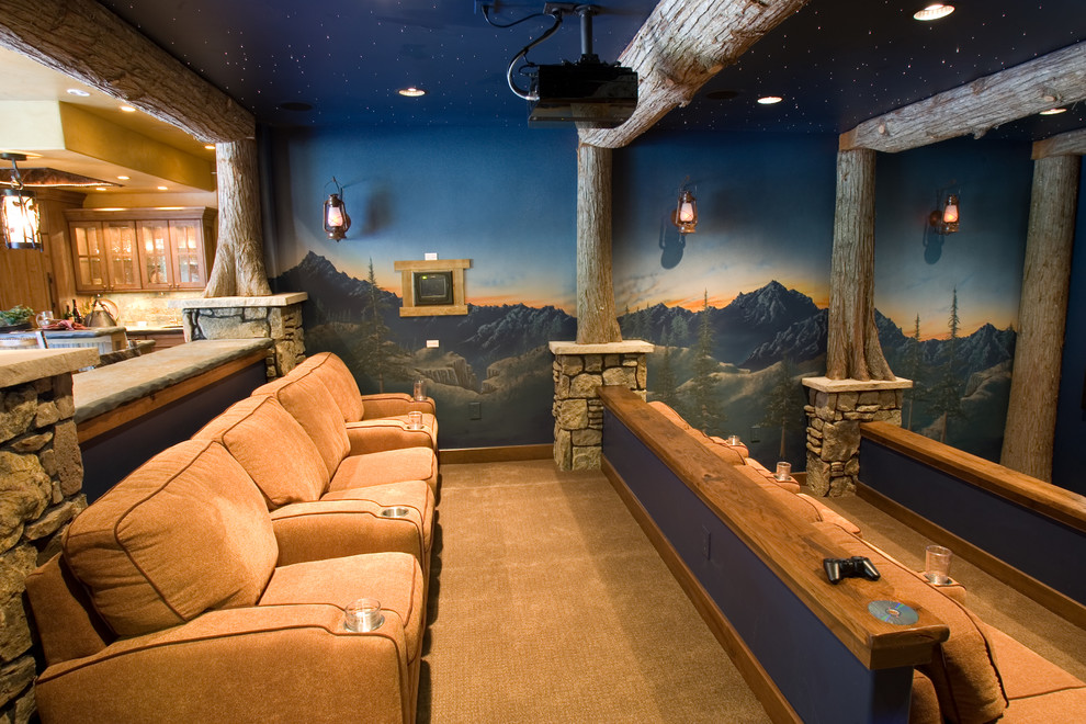 fiber optic christmas trees Home Theater Rustic with carpeting cineman seating crestron controls fiber optics logs media room mountains mural