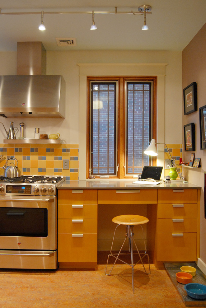 Fiestaware Kitchen Contemporary with Beige Wall Bright Color Brown Wall Built in Desk Built in Kitchen Desk Home