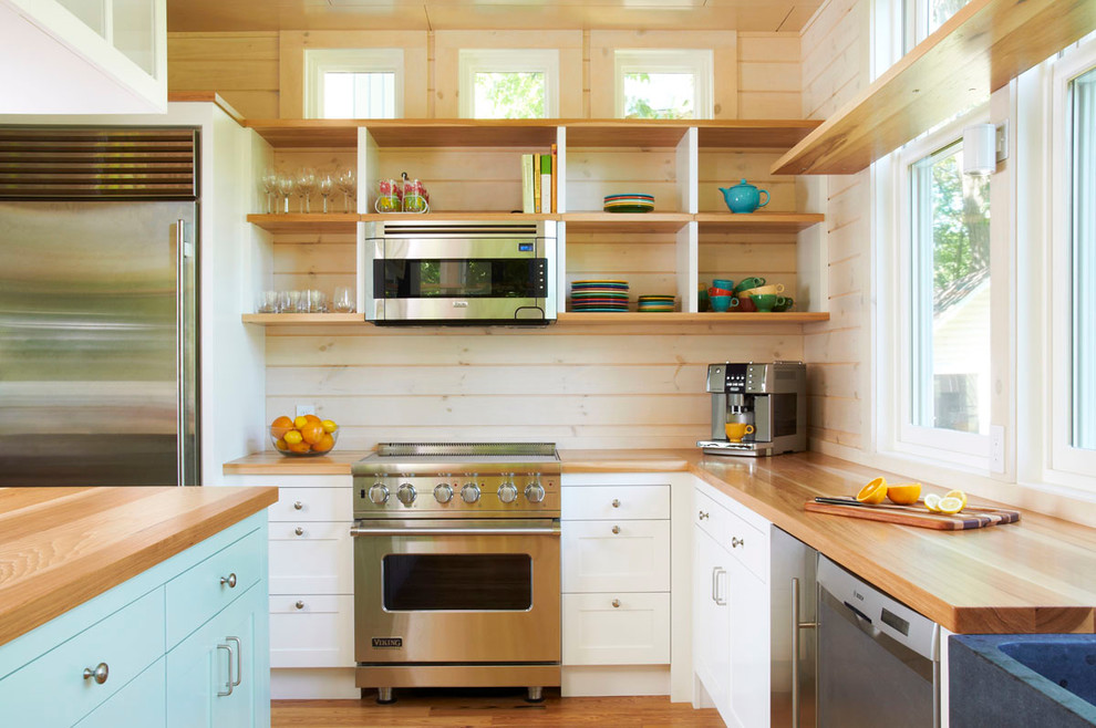 Fiestaware Kitchen Modern with Blue Cabinets Butcher Block Countertops Cabin Hickory Modern Open Shelves Open Shelving