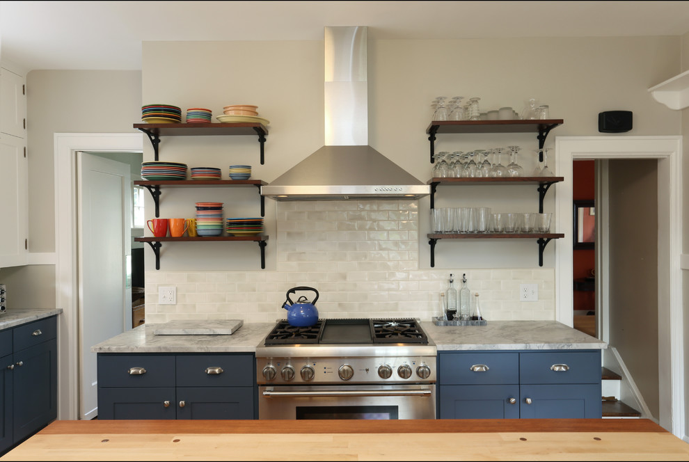 Fiestaware Kitchen Transitional with Blue Kitchen Cabinets Cup Pulls Marble Cutting Block Open Shelving Shelf Brackets
