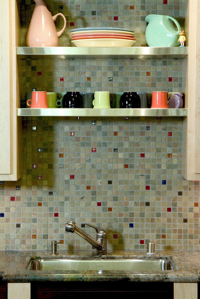 fiestaware sale Kitchen Eclectic with kitchen shelves mosaic tiles pastel colors stainless steel shelves tile backsplash