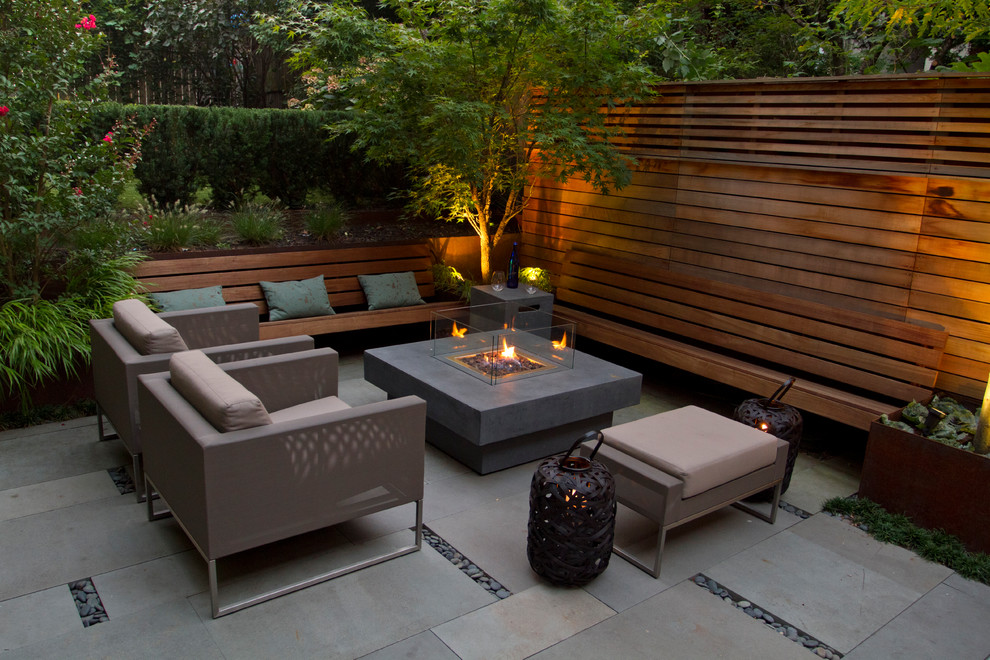 Fire Pit Coffee Table Patio Contemporary with Beige Outdoor Cushions Built in Bench Bushes Fire Pit Fire Pit Coffee Table