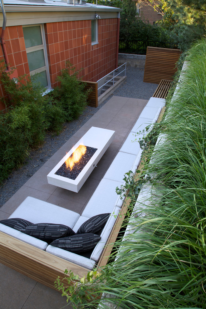 Fire Pit Coffee Table Patio Midcentury with Backyard Gravel Orange Tiles Long Fire Pit Outdoor Furniture Sectional Sofa