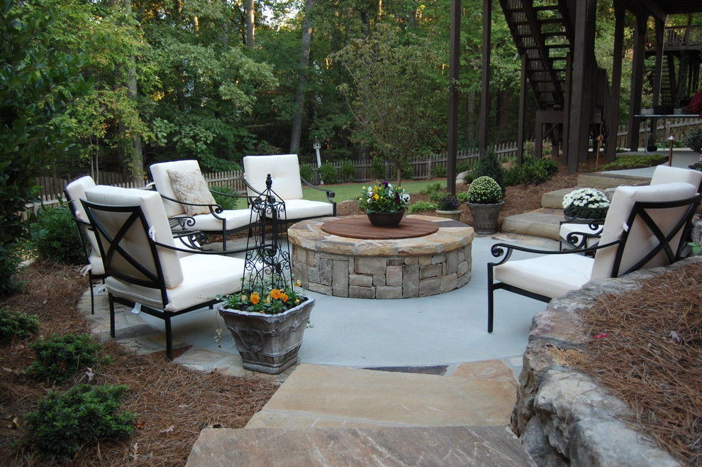 Fire Pit Coffee Table Patio Traditional with Concrete and Stone Fire Pit Outdoor Space Patio Seating Area