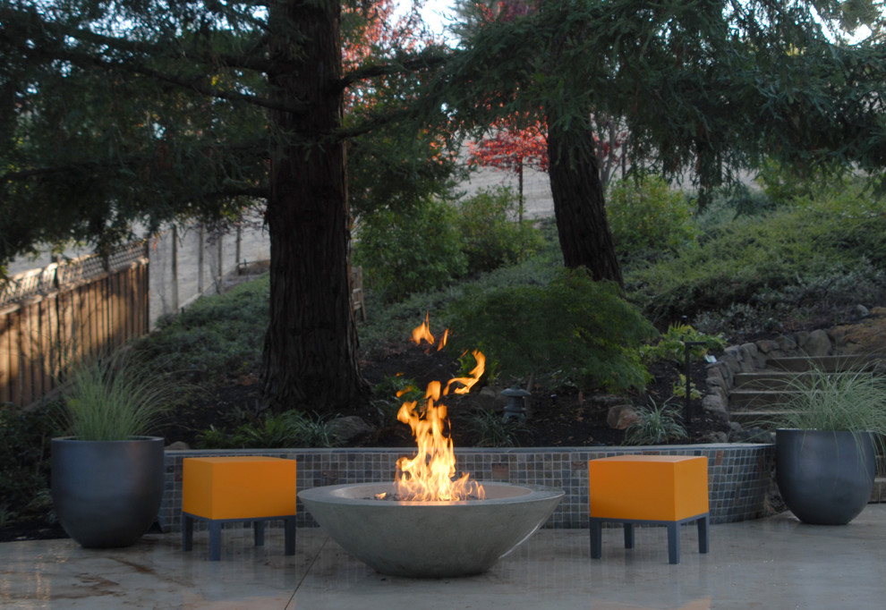 firepits Patio Contemporary with chiminea concrete elements fire fire bowl fire pit landscaping marble mosaic Patio