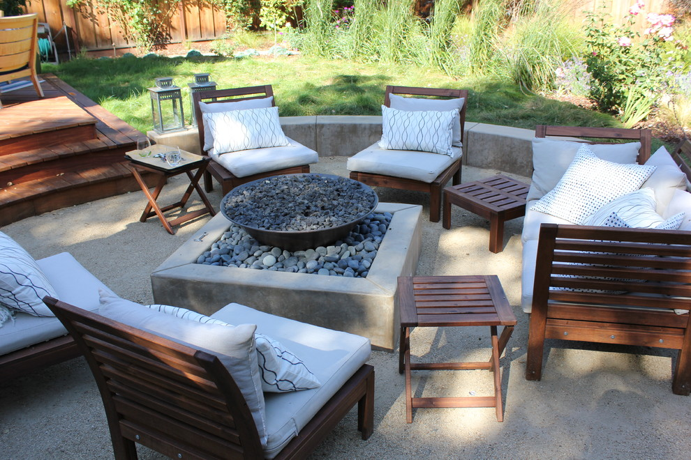 Firepits Patio Contemporary with Concrete Firepit Fire Pit Gravel Patio Ipe Deck Lanterns Outdoor Table Patterned