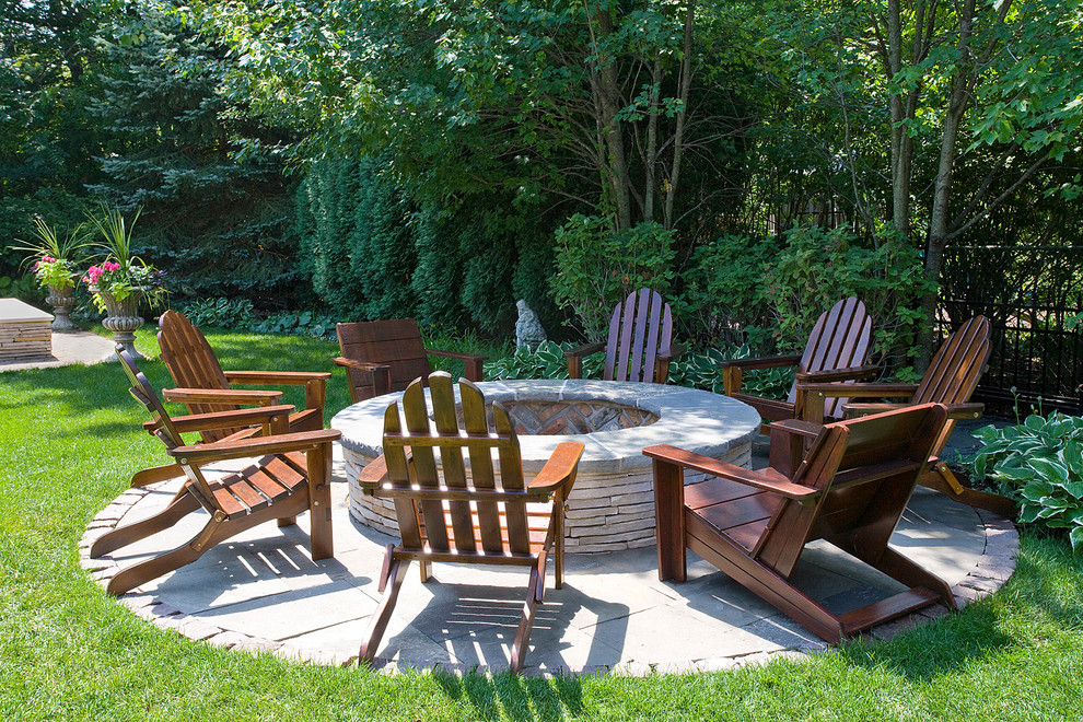 Firepits Patio Traditional with Adirondack Chairs Brick Fire Circle Fire Pit Firepit Flower Urns Grass Herringbone